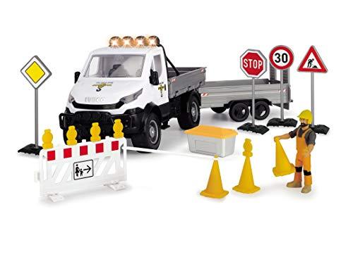 Dickie Toys 203838005 Traffic Playlife Verkehr Spielzeug, Baustellen Fahrzeug, Auto Set, Iveco Transporter mit Freilauf, Licht & Sound, inkl. Batterien, 41,5 cm, Mehrfarbig