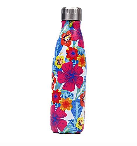 BYOUQ Botella de Agua Acero Inoxidable 500ml, Aislamiento de Vacío de Doble Pared, Botellas de Frío/Caliente,para Niños, Deporte, Oficina, Gimnasio, Ciclismo A,500 ML