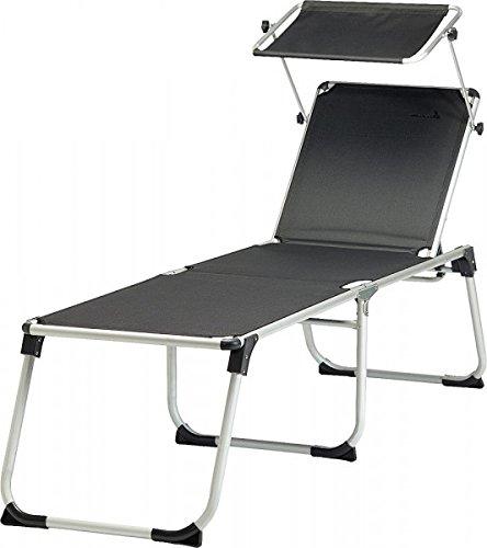 Unbekannt 48 cm Sitz-Liege Höhe - Mit verstellbarem Kopfteil und Sonnenschutz - dunkelgrau - Maße: 200 x 59 x 48 cm (L x B x H) - Belastung 120 KG Vertrieb durch Holly Produkte STABIELO -