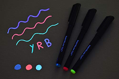 DirectGlow Set of 3 Invisible UV Blacklight Ink Marker Blue Red Yellow