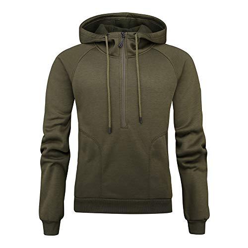 LUOYLYM Langarmshirts Herbst/Winter Neue Half Zipper Große Tasche Plus Fleece Kapuze Einfarbig Sweatshirtc1 / S