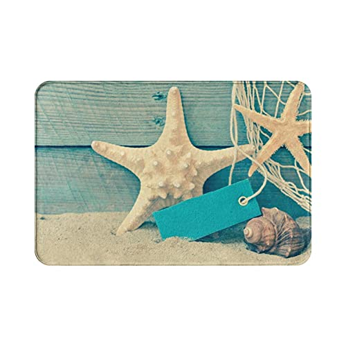 Beach Bath Mat Seashell Starfish Small Rug for Bathroom Floor Tub Soft Absorbent Memory Foam Kitchen Sink Rugs Non-Slip Washable Door Mat Indoor Entrance Accessories Decor