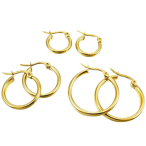 Demarkt 3 Pairs Silver Plated Wine Glass Charm Ring Earring Flanging Hoop Party Favours, Different Sizes, Gold, Medium