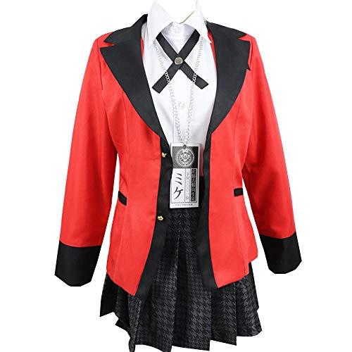 NiQiShangMao Anime Kakegurui Yumeko Jabami Cosplay Disfraz Niñas Uniforme de Escuela Secundaria Mujeres Halloween Fiesta Cosplay Disfraces
