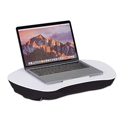 Relaxdays Laptopkissen, Holz-Auflage, weiche Polsterung, Tragegriff, Kissentablett für Bett BxT: 52 x 33 cm, weiß, 1 Stück