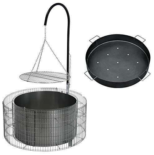 bellissa Feuer- und Grillstelle aus Gabionen - 95580 - Feuerstelle inkl. Kohleschale - Durchmesser 92/72 cm, Höhe 40 cm