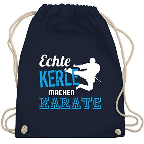 Shirtracer Kampfsport - Echte Kerle machen Karate - Unisize - Navy Blau - karate turnbeutel - WM110 - Turnbeutel und Stoffbeutel aus Baumwolle