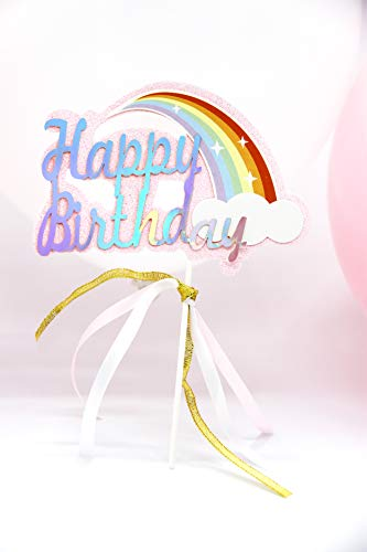 Happy Birthday Regenbogen Kuchendekoration Cake Toppers Kuchen Deko (Rosa)