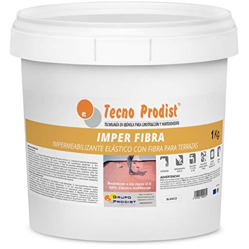 IMPER FIBRA de Tecno Prodist - 1 Kg (BLANCO) Pintura Impermeabilizante elástica para Terrazas con Fibras Incorporadas - Buena Calidad - (A Rodillo o brocha, disponible en color rojo o blanco)
