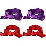 EleCharm Sleep Mask Silk Satin Eye Mask Blindfold Band Light Cover Multi-Functional 59inch (Red 2pcs + Purple 2pcs)