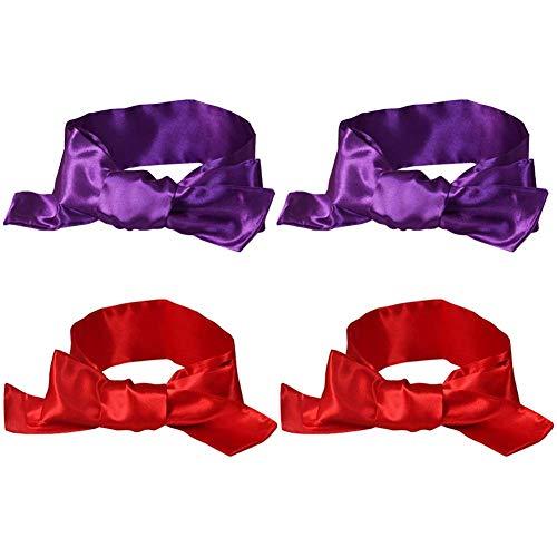 EleCharm Sleep Mask Silk Satin Eye Mask, Night Time Blindfold Tie Stimulate Interest Role Play, 59 inch (Red 2pcs + Purple 2pcs)