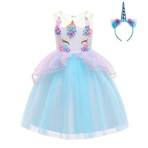 FONLAM Vestido de Fiesta Princesa Niña Bebé Disfraz de Unicornio Ceremonia Cumpleaños Vestido Infantil Flores Carnaval Niña Cosplay (Azul, 7-8 Años)
