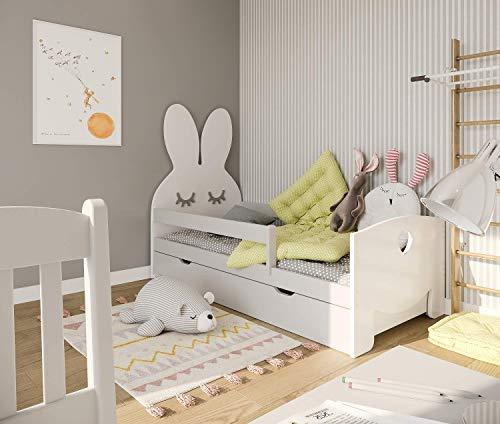 (180x70 cm Blanco) NeedSleep Cama niño Infantil con colchón | 140x70 160x70 180x70 | Montessori | Cama con cajones | Cama Bebe cabeceros Infantiles | Barrera Cama | niña niño | Conejo Liebre
