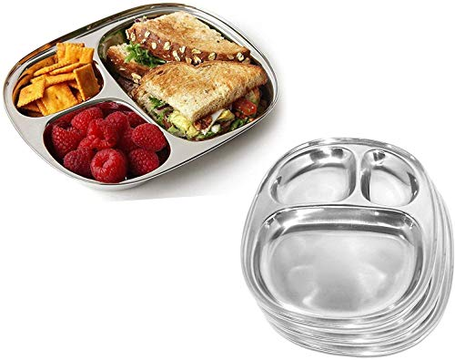 IndiaBIgShop 100% Stainless Steel 3 Sections Divided Dinner Plates, Steel Plates, Suction Plates, Pav Bhaji Plates, Oval Dinner Plate, Breakfast Plates - Set of 6 - 28 cm