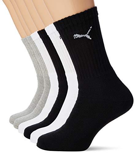 Puma Chaussettes de sport coussin rond, Mixte Adulte, Multicolore (White/Grey/Black), 39-42, Lot de 6paires