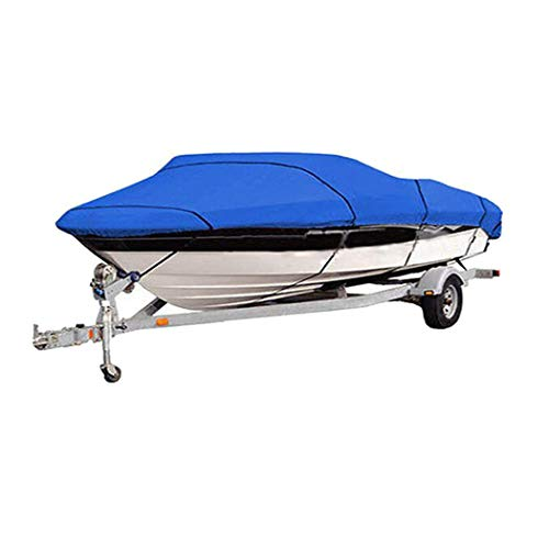 Hombosi 420D Heavy Duty Waterproof Runabout Boat Cover, All Weather Outdoor Protection Fits V-Hull,Tri-Hull,Trailerable Speedboat Fishing Ski Boat Boat Cover,11/13FT(420 * 270CM)