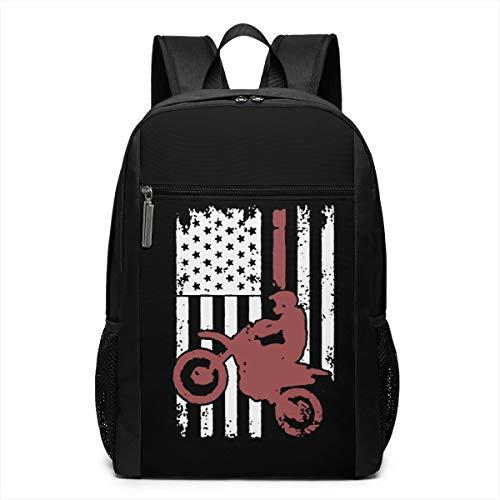 GgDupp USA Flag Dirtbike Motocross Schulranzen Reiserucksack 17 Zoll Laptop Tasche, Polyester, Schwarz, Einheitsgröße
