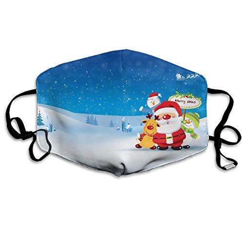 Polyester Anti-Dust Mond Masker - Kerstman Leuke Kat Gewassen Herbruikbare Mond-Muffle - Mode Gedrukte Gezichtsmaskers voor Outdoor Fietsen Eén maat Vrolijk Kerstmis Grappig Patroon