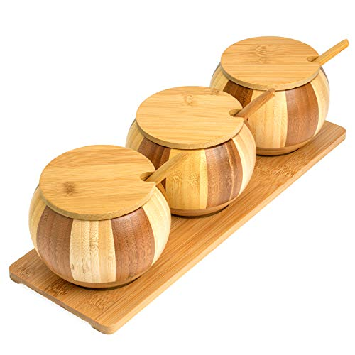 Bamboo Salt Box | Salt and Sugar Containers Set | Salt and Pepper Bowls Set with Lids, Spoons and Trays – Pots | Jars | Crocks for Condiments, Salt, Sugar, Pepper, Spice & Seasoning