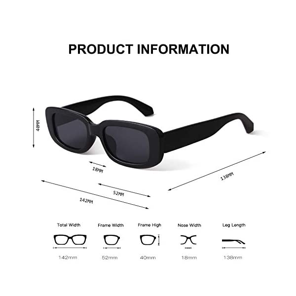 BUTABY Rectangle Sunglasses for Women Retro Driving Glasses 90's Vintage Fashion Narrow Square Frame UV400 Protection