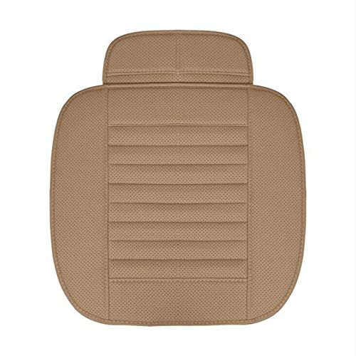 Funda de asiento de coche de cuero de PU Four Seasons Cojín de asiento de coche Protector de asiento de automóvil Alfombrilla de silla de coche universal Alfombrilla Accesorios de automóvil-Beige
