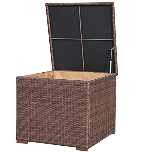 Super Patio Outdoor Patio Storage Box, Brown Wicker Storage Bin Deck Box, 88 Gallon
