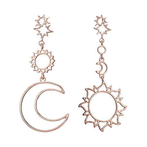 TENDYCOCO Pendientes con forma de estrella de luna de sol huecos Pendientes de borla simples y asimétricos para mujer y niña