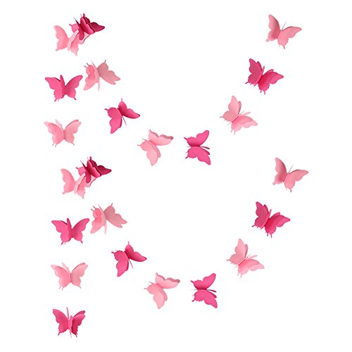 zilue Butterfly Banner Decorative Paper Garland for Wedding, Baby Shower, Birthday & Theme Decor 110 Inches Long Set of 2 Pieces Pink