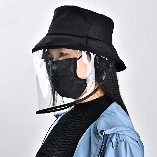 Geekcook Gorras y Sombreros protección UV,Anti máscara de partículas Cubierta Sombrero Anti Humo Saliva Anti Polvo Cubierta Completa Protectora Cara Ojos Cubo Sombrero-Gorra Negra_Los 55-60CM