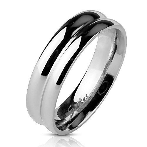 Bungsa® 64 (20.4) Ring zweireihig Silber für Damen und Herren Edelstahl hochglanzpoliert (Ring Damen Fingerring Partnerringe Verlobungsringe Trauringe Damenring Edelstahlring Chirurgenstahl)