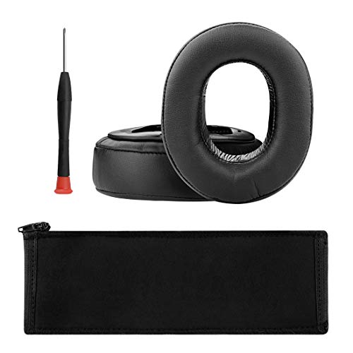Geekria Replacement Earpads for Sony MDR-HW700, MDR-HW700DS Headphones/Earpads + Sony MDRHW700, MDRHW700DS Headband Protective Case/Earpads Headband Protective Case/Repair Parts (Black)