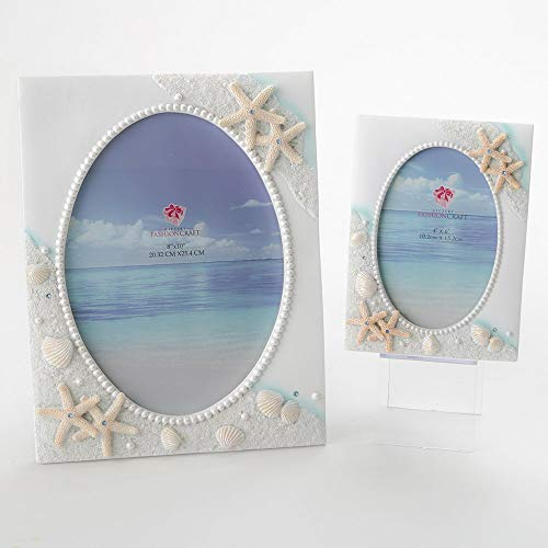 Beach Sea Ocean Shell Themed Picture Frames ~ Set of 2 Frames ~ One For A 4x6 Photo And One For An 8x10 Photo. Perfect For Wedding Summer Vacation Graduation Or Completing Beach Themed Décor
