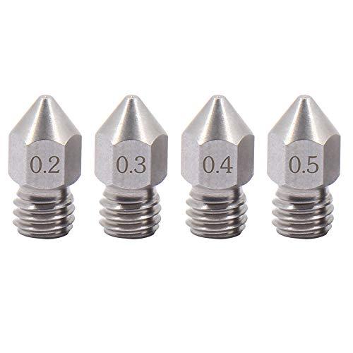 4 ugelli affilati MK8 in acciaio inox 0,2-0,5 mm per stampante 3D Creality CR10 Ender 3 V2 Pro Ender 5, CraftBot, Prusa i3, Anycubic (1x0,2+1x0,3+1x0,4+1x0,5)