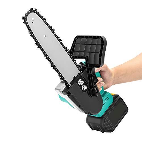 Motosierra eléctrica a batería, Motosierra a batería 900W Cortadora manual pequeña, sierra eléctrica de 21 V con placa protectora, para cortar en jardines, granjas, en el jardín, etc.