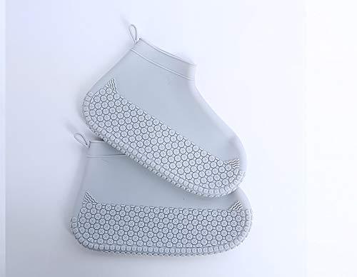 CVBNG Fundas para Zapatos de Silicona Reutilizables, Fundas para Botas de Lluvia de PVC Resistentes al Desgaste, adecuadas para Fundas para pies de Hombres, Mujeres y niños(Metro,Gris)