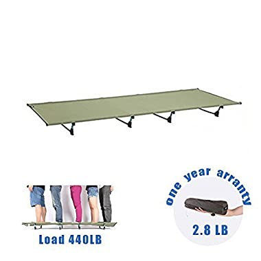 DESERT WALKER Camping Cots, Outdoor Bed Ultra lightweight Bed portable cot Free Storage Bag Included,2.8 Pounds (camouflage) (Green)