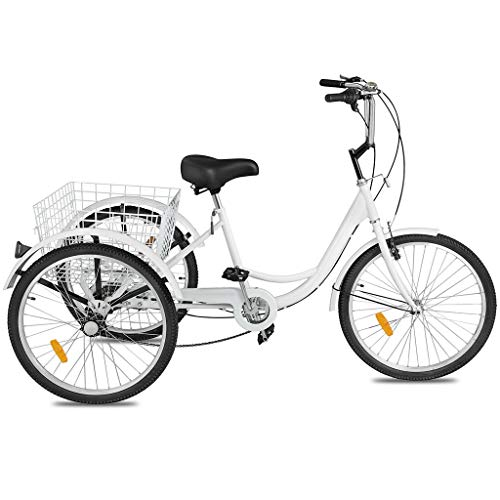 Adult Tricycle Bike 1/7 Speed 3-Wheel for Shopping W/Installation Tools Three-Wheeled Bicycle for Men and Women