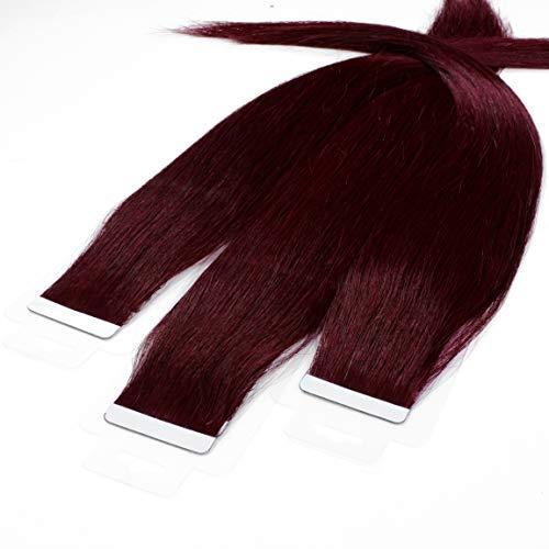 hair2heart 30 x 2.5g Tape In Echthaar Extensions, 50cm - glatt - #99j burgundy