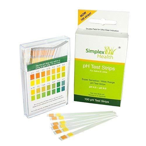 Simplex Health pH Teststreifen (100 Stück) Urin und Speichel inklusive 30 Tage Aufzeichnungstabelle