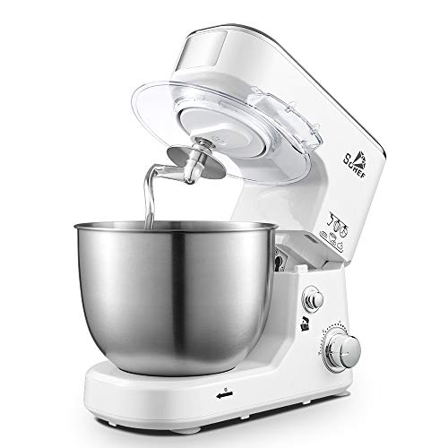 Hand Essen & Cake Mixer, 500W 3-in-1-Food-Stand Mixer Beater/Whisk/Knethaken mit 4L Edelstahlnapf Überhitzungsschutz für Küchen