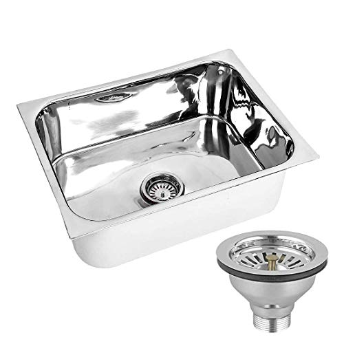 ATC Jindal Stainless Steel Glossy Finish Single Bowl Kitchen Sink 24 X 18 X 9 Inches (4 Kg) with SS Kitchen Sink Coupling