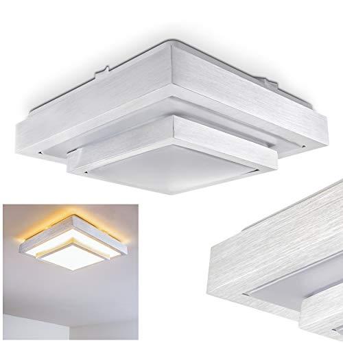 LED Deckenleuchte Sora, eckige aus Metall in Stahl gebürstet, 18 Watt, 1380 Lumen, Lichtfarbe 3000 Kelvin (warmweiß), IP44, auch für das Badezimmer geeignet