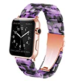 YGTIECS Resin Apple Watch Band Compatible with Apple Watch 42mm/44mm, top Resin Combine with Stainless Steel Connector for iwatch Band Series 6 5 4 3 2 1 for Women and Men-Purple Ink
