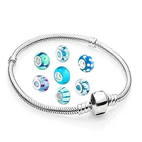 AKKI Charms Armband und 8 Anhänger Starter Set Angebot,Edelstahl Zirkonia Murano Glas bettel Beads Bead Silber Original Perlen Strass Elements Swarovski,Pandora Style kompatibel Schmuck (15cm.)