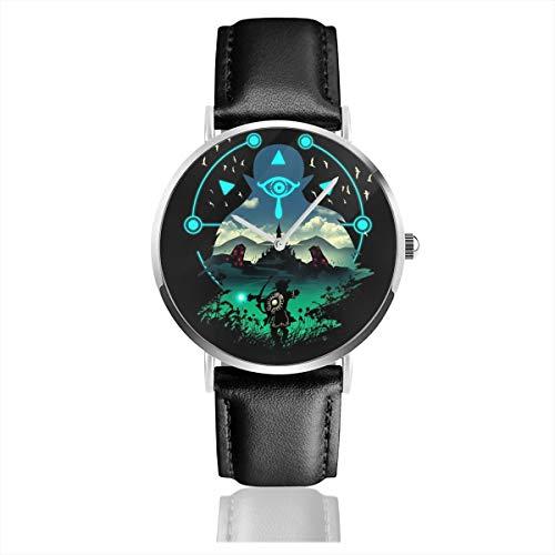 Unisex Business Casual Legend of Zelda Breath of The Wild Adventurer Uhren Quarz Leder Uhr mit schwarzem Lederband für Männer Frauen Junge Kollektion Geschenk