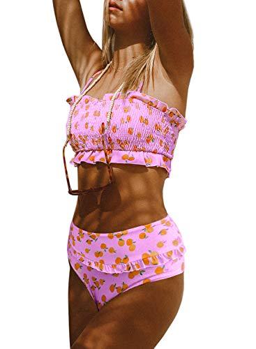 Dokotoo Women Beach Push Up High Waist Strapless Lemon Printed Smocked Padded Fashion Bikini Sets Swimsuits Two Pieces Bathing Suit Swimwear with Briefs Pink X-Large