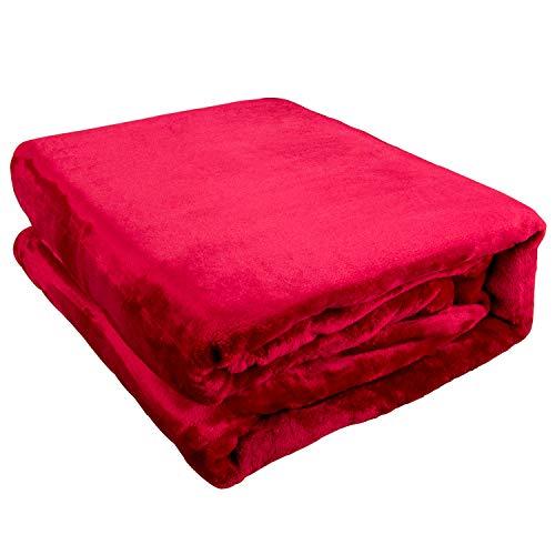 Geschenke 24 Kuscheldecke flauschig mit Bestickung (Rot) - personalisierte Decke Fleecedecke mit Name, Wohndecke - Muttertagsgeschenk