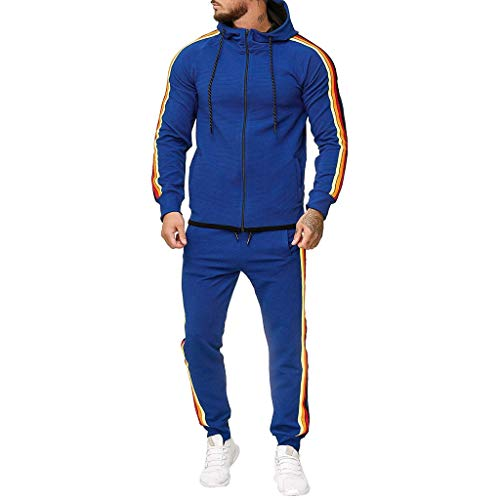 Momoxi 2020 Sportanzug Baumwolle Casual Herren JoggingRelax Trainingsanzug Freizeitanzug Set Herbst Sportbekleidungsset Trainingsanzug Pullover Trikot t Shirt Kleidung Jacke blau 5XL