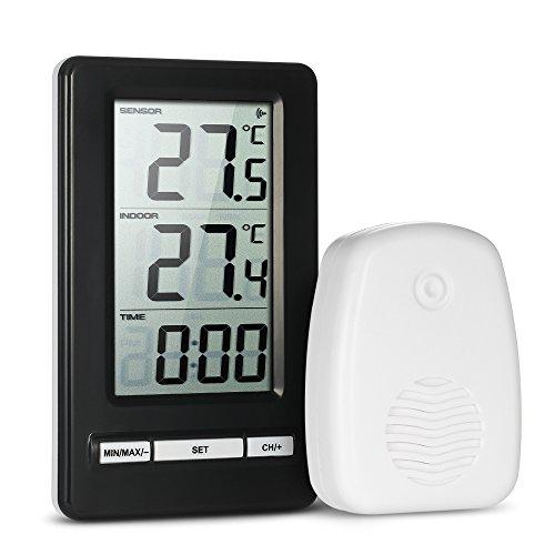 Anself Funk Thermometer Innen-/Außen-Thermometer mit LCD Display Inkl. Außensensor, Reichweite 100 m