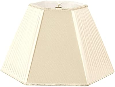 Royal Designs Beige/Eggshell Pleated Hexagon Designer Lamp Shade, Beige/Eggshell,  7 x 14 x 11